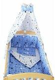 Lenjerie cu baldachin, 2 fete, stelutele albastre, 120 x 60 cm