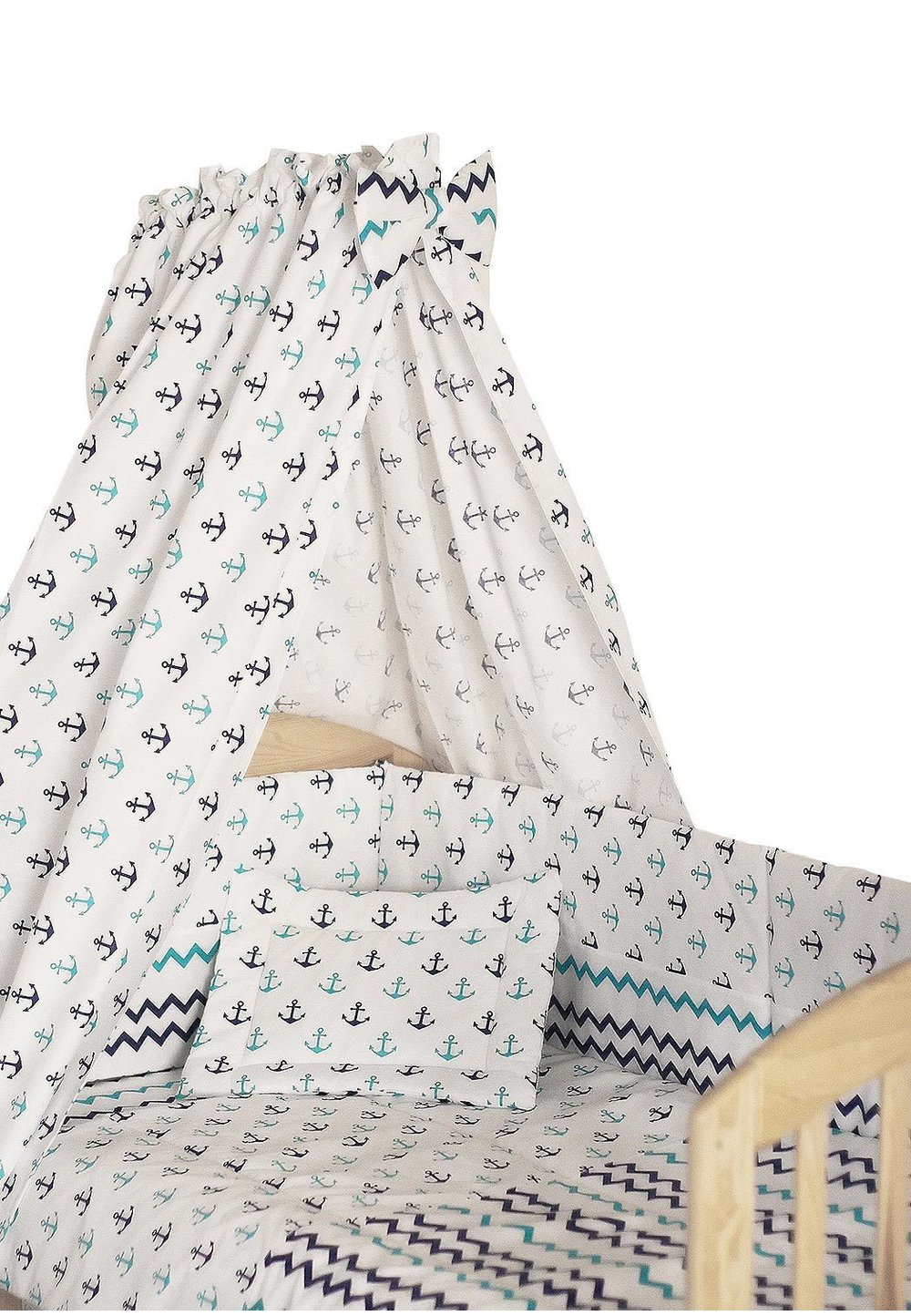 Lenjerie cu baldachin, 6 piese, ancore, 120x60 cm
