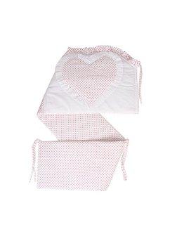 Lenjerie cu baldachin, 6 piese, inimioara roz, 120x60 cm