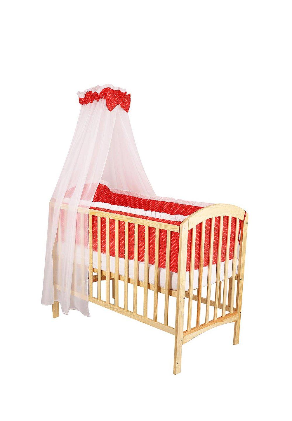 Lenjerie cu baldachin, 6 piese, rosu cu buline albe, 120x60 cm