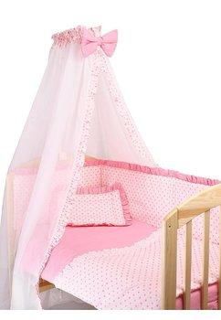 Lenjerie cu baldachin, 6 piese, roz cu stelute roz, 120x60 cm