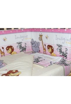 Lenjerie cu baldachin, 6 piese, Safari roz, 120x60cm