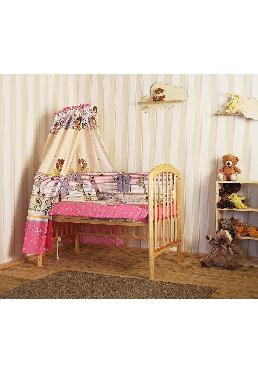 Lenjerie cu baldachin, 6 piese, Safari roz, 120x60cm imagine