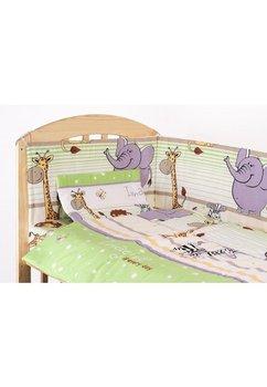 Lenjerie cu baldachin, 6 piese, Safari verde, 120x60cm