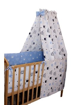 Lenjerie cu baldachin 7 piese, Prince albastru, 120 x 60 cm