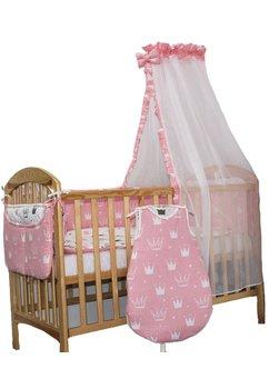 Lenjerie cu baldachin, 8 piese, Princess roz, 120 x 60 cm