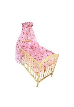 Lenjerie cu baldachin, ursulet cu albinute roz, 120 x 60 cm