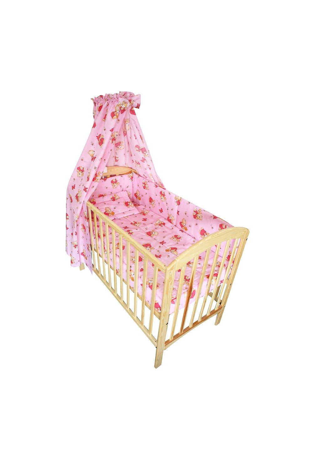 Lenjerie cu baldachin, ursulet cu albinute roz, 120 x 60 cm imagine