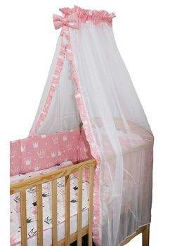 Lenjerie cu baldachin voal, 6 piese, Princess roz, 120 x 60 cm