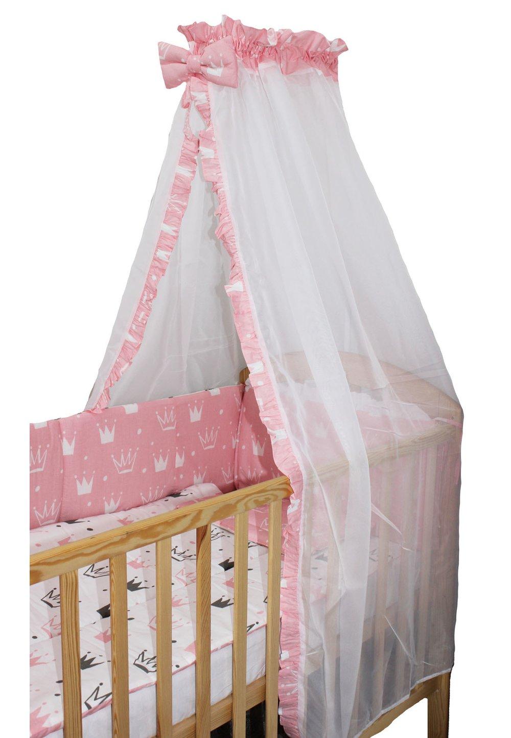 Lenjerie cu baldachin voal, 6 piese, Princess roz, 120 x 60 cm imagine