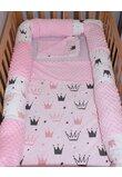 Lenjerie 5 piese, cu bumper, roz deschis, coronite 120 x 60 cm