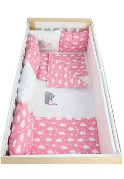 Lenjerie cu perne, 9 piese, norisori si stelute roz, 120x60cm