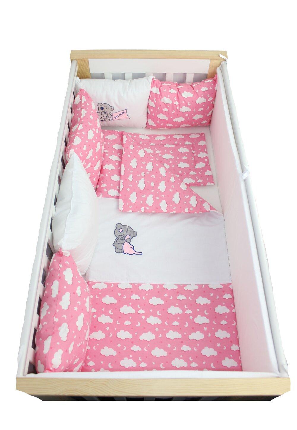 Lenjerie cu perne, 9 piese, norisori si stelute roz, 120x60cm imagine