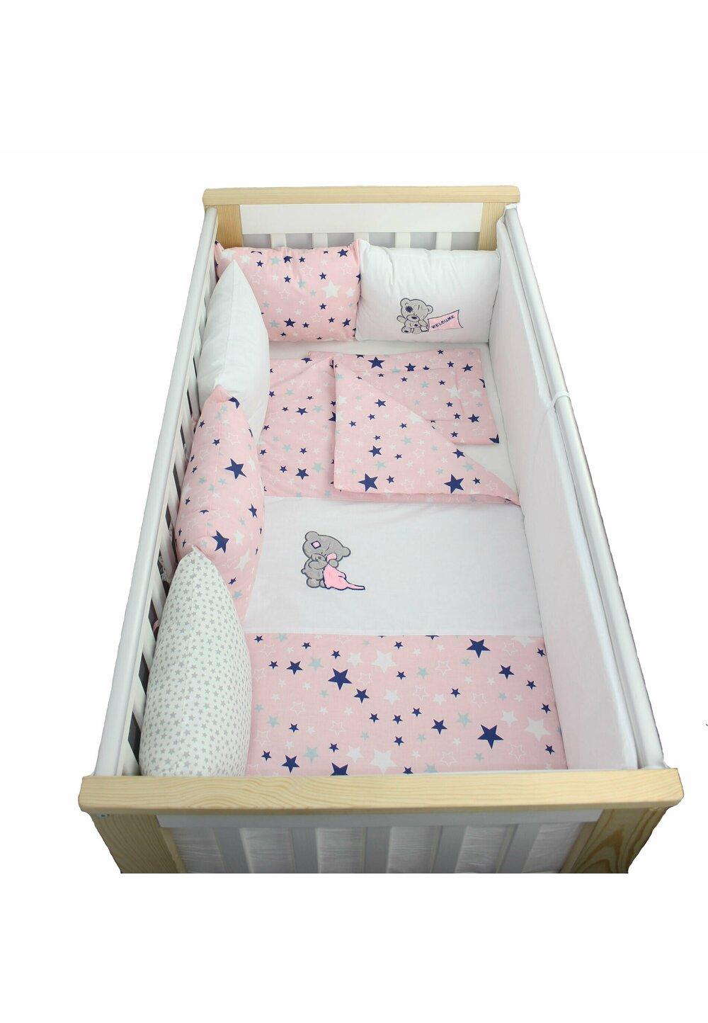 Lenjerie cu perne, 9 piese, Welcome, roz cu stelute, 120 x 60 cm