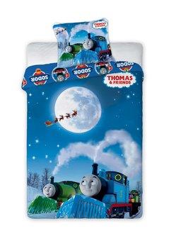 Lenjerie de pat, albastra, Thomas si prietenii, 160x200cm