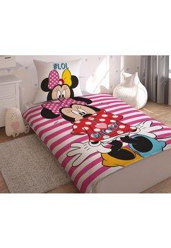 Lenjerie de pat cu dungi roz, Minnie Mouse, Lol, 140x200 cm