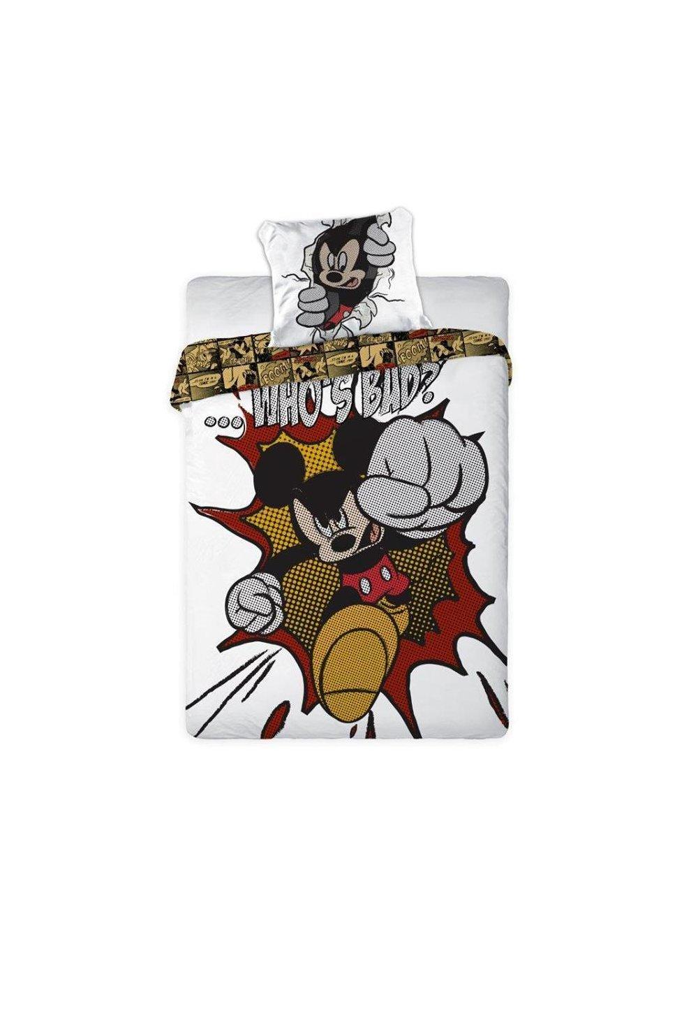 Lenjerie De Pat Mickey Mouse, 160 X 200 Cm, Alba