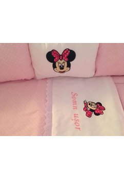 Lenjerie, Minnie Mouse, roz, 8 piese, 120x60 cm