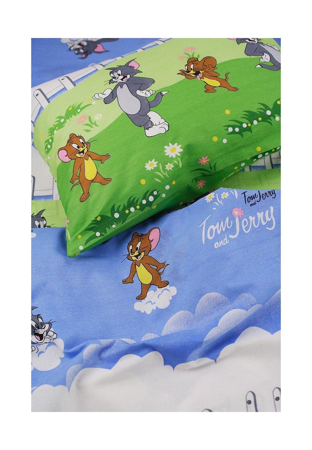 Lenjerie pat 3 piese Tom si Jerry,160 x 200 cm imagine