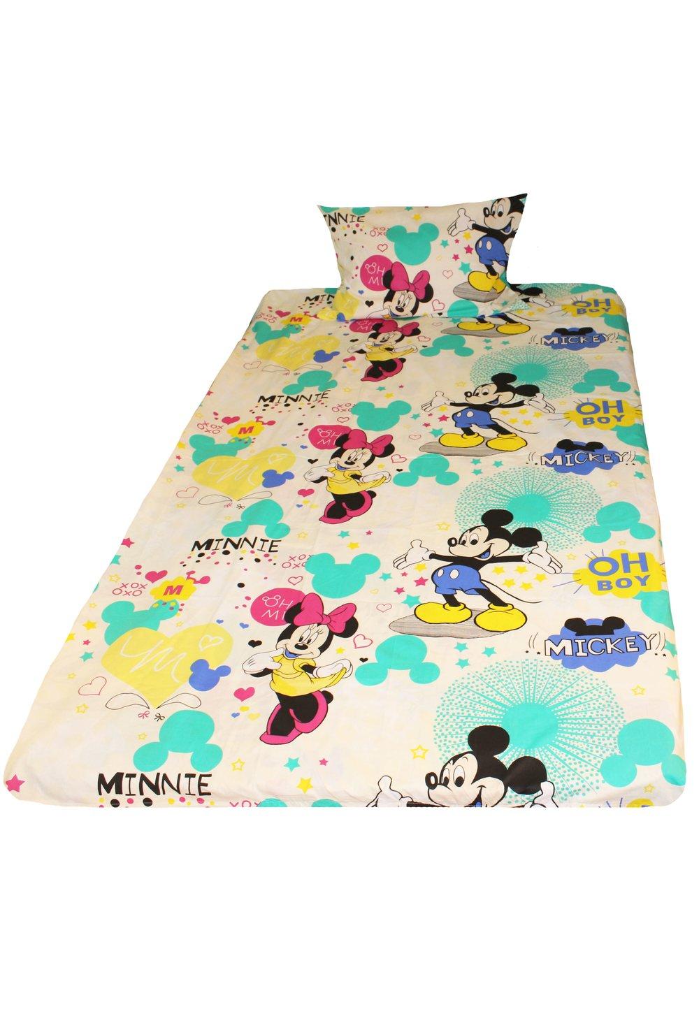 Lenjerie de pat 3 piese, Minnie si Mickey, crem, 160 x 200 cm imagine