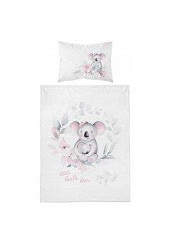 Lenjerie pat, bambus, Little Koala, roz, 100x135 cm