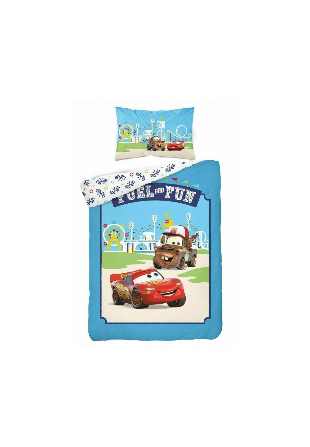 Lenjerie pat, Cars, albastra,100x135 cm imagine