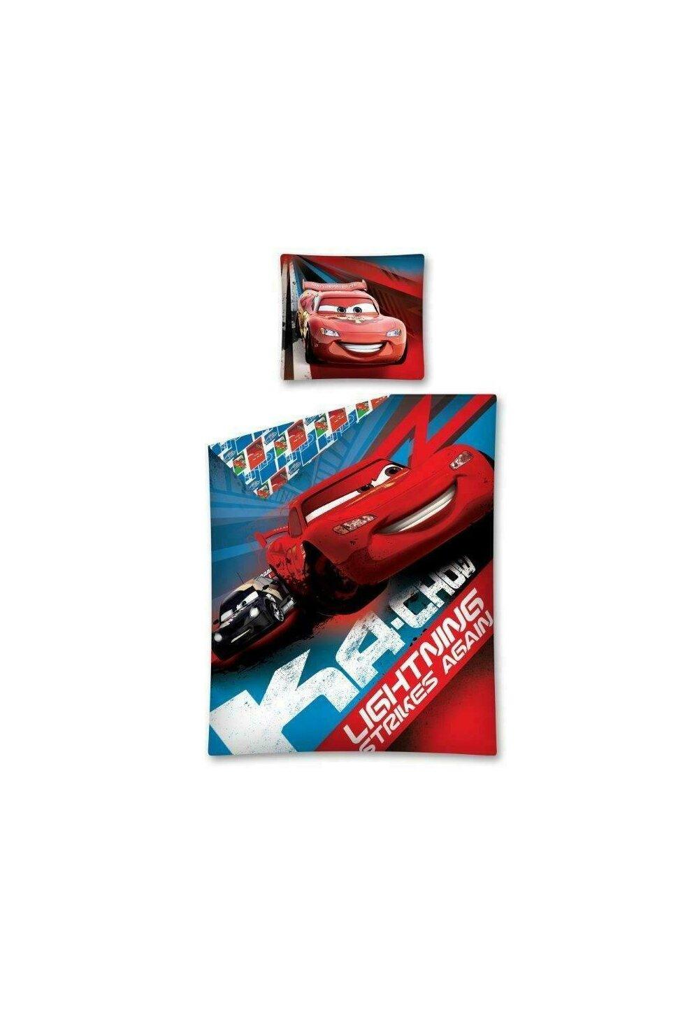 Lenjerie pat, Cars rosu cu albastru,140x200 cm imagine