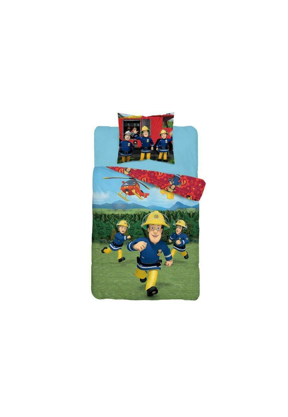 Lenjerie pat, Fireman Sam, rosie, 140x200 cm imagine