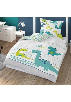 Lenjerie pat, fluorescenta, Dinosaurr, alb cu verde, 160x200 cm