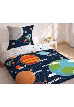 Lenjerie pat, fluorescenta, Planetele, bluemarin, 160x200 cm