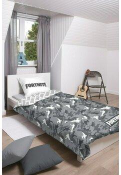 Lenjerie pat, Fortnite, gri cu alb, 140 x 200 cm