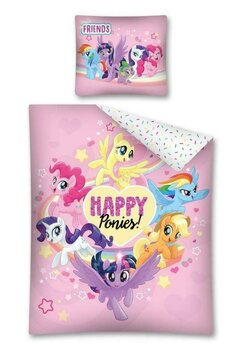 Lenjerie pat, Happy Ponies, roz, 140x200 cm
