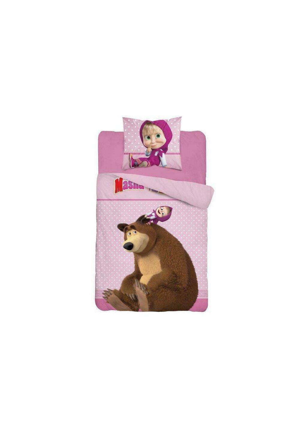 Lenjerie pat, Masha si Ursul, roz,140x200 cm imagine