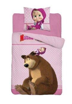 Lenjerie pat, Masha si Ursul, roz,160x200 cm