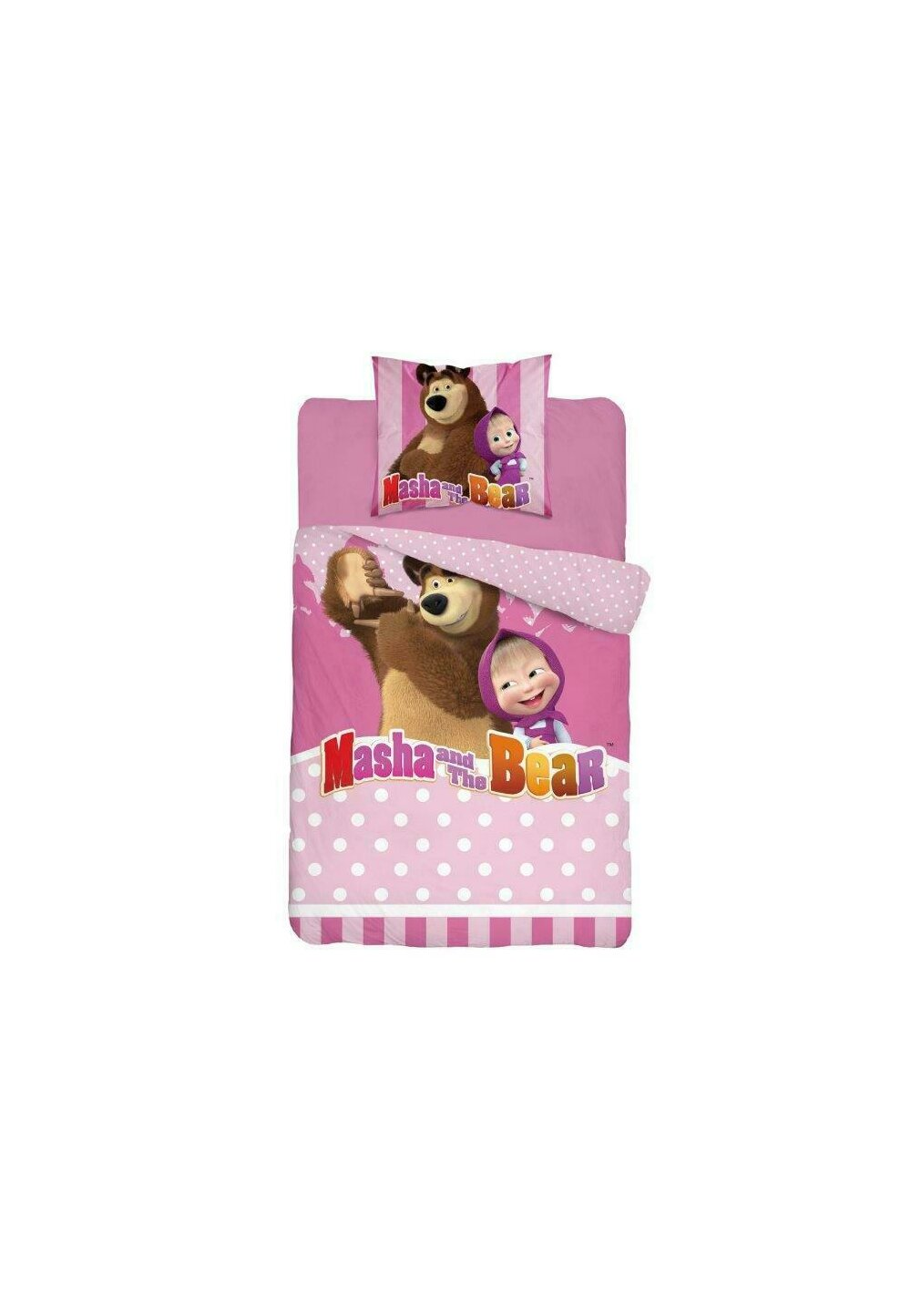 Lenjerie pat, Masha si Ursul, roz cu buline albe,140x200 cm imagine