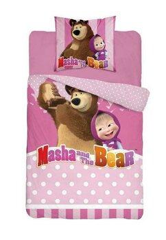 Lenjerie pat, Masha si Ursul, roz cu buline albe,160x200 cm