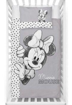 Lenjerie pat, Minnie Mouse, gri cu buline negre, 100x135 cm
