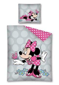 Lenjerie pat, Minnie Mouse, gri cu roz, 160x200 cm