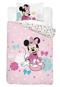 Lenjerie pat, Minnie Mouse, roz cu buline, 100x135 cm
