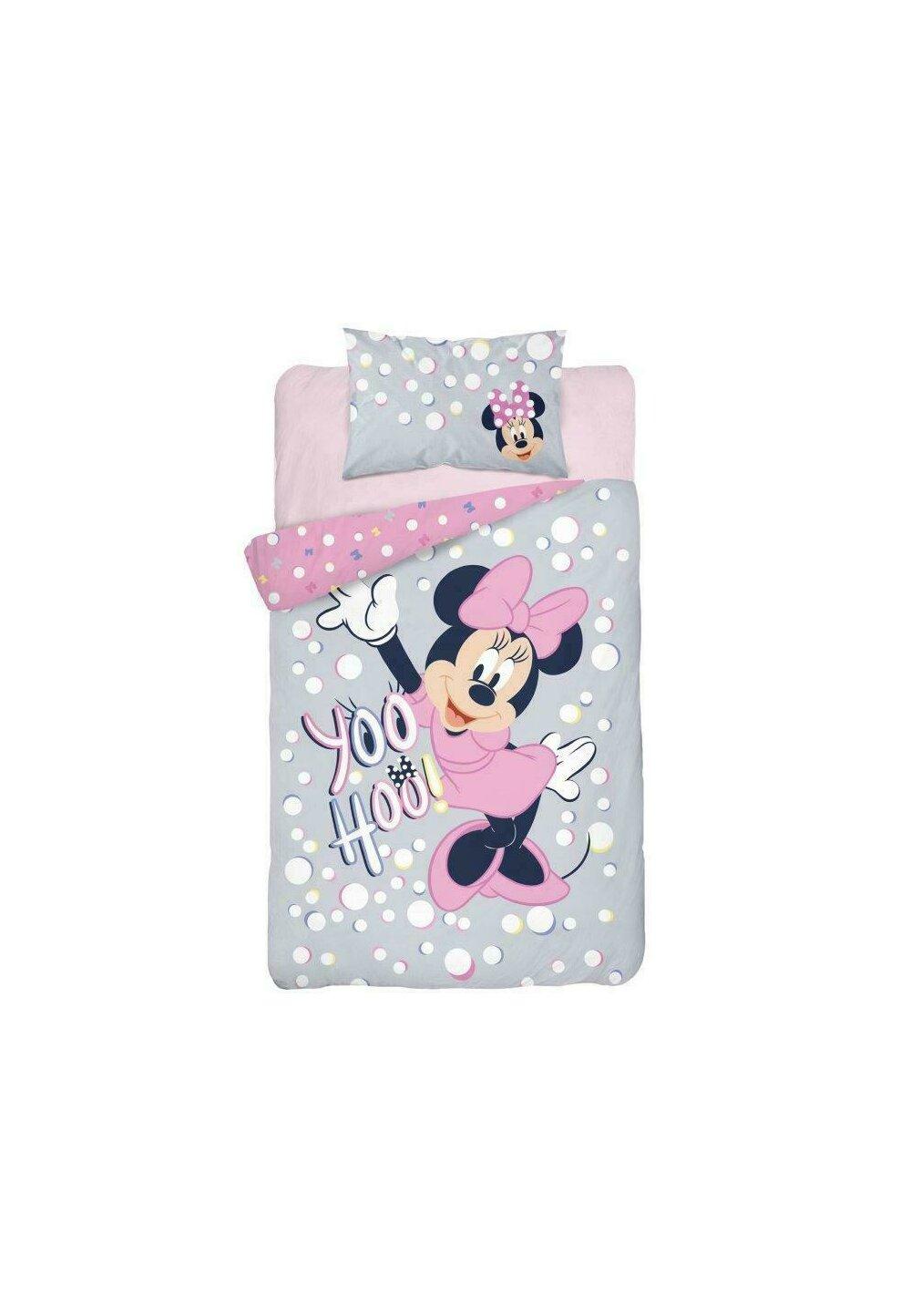 Lenjerie pat, Minnie Mouse, yoo hoo, gri cu roz, 100x135 cm imagine