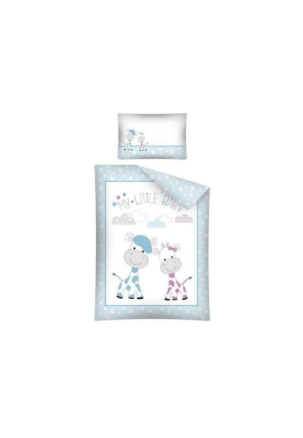 Lenjerie pat, My little baby, albastra cu stelute, 100x135 cm imagine