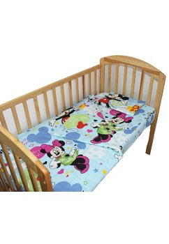 Lenjerie patut, 3 piese, Minnie si Mickey, albastru, 120 x 60 cm