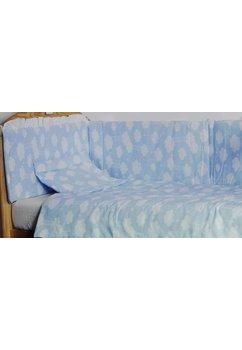 Lenjerie patut 3 piese, norisori albastri, 120 x 60 cm