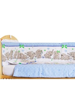 Lenjerie patut, 4 piese, Elenfant albastru sir, 120 x 60 cm