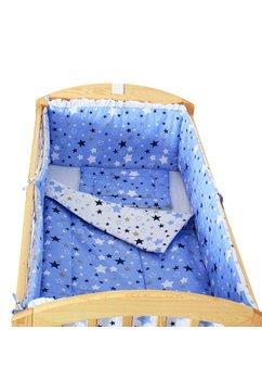 Lenjerie patut, 5 piese, 2 fete, stelutele albastre, 120 x 60 cm