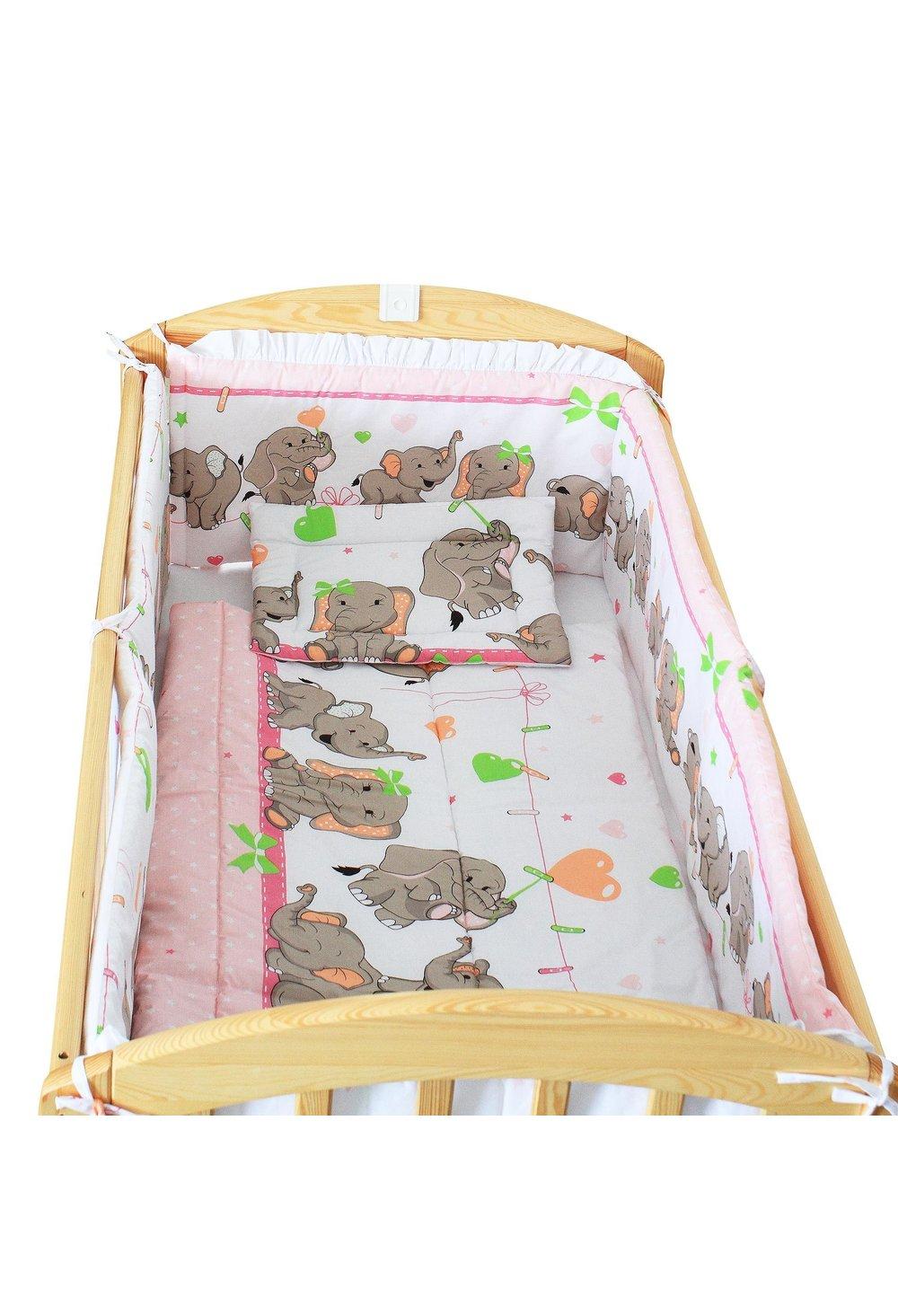Lenjerie patut, 5 piese, Elefant roz sir, 120 x 60 cm imagine
