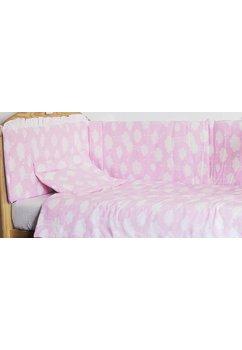 Lenjerie patut, 5 piese, norisori roz, 120 x 60 cm
