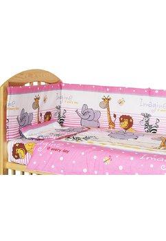 Lenjerie patut, 5 piese, Safari roz, 140x70cm