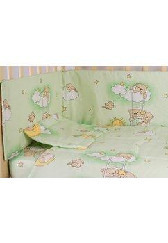 Lenjerie patut 5 piese, ursuletul somnoros, verde, 120 x 60 cm