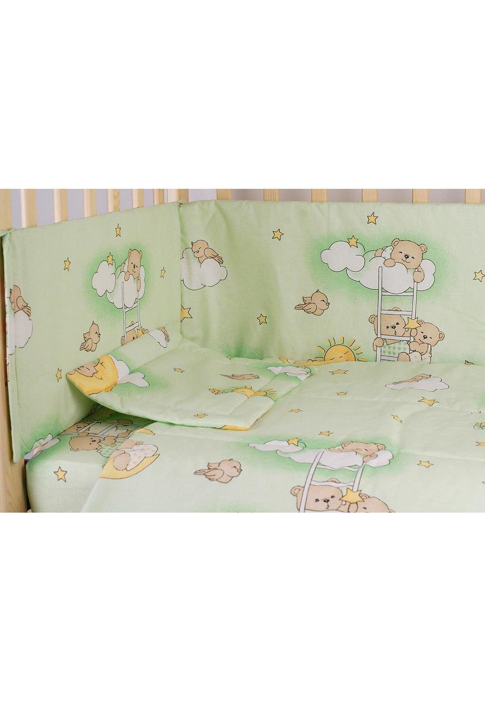 Lenjerie patut 5 piese, ursuletul somnoros, verde, 120 x 60 cm imagine
